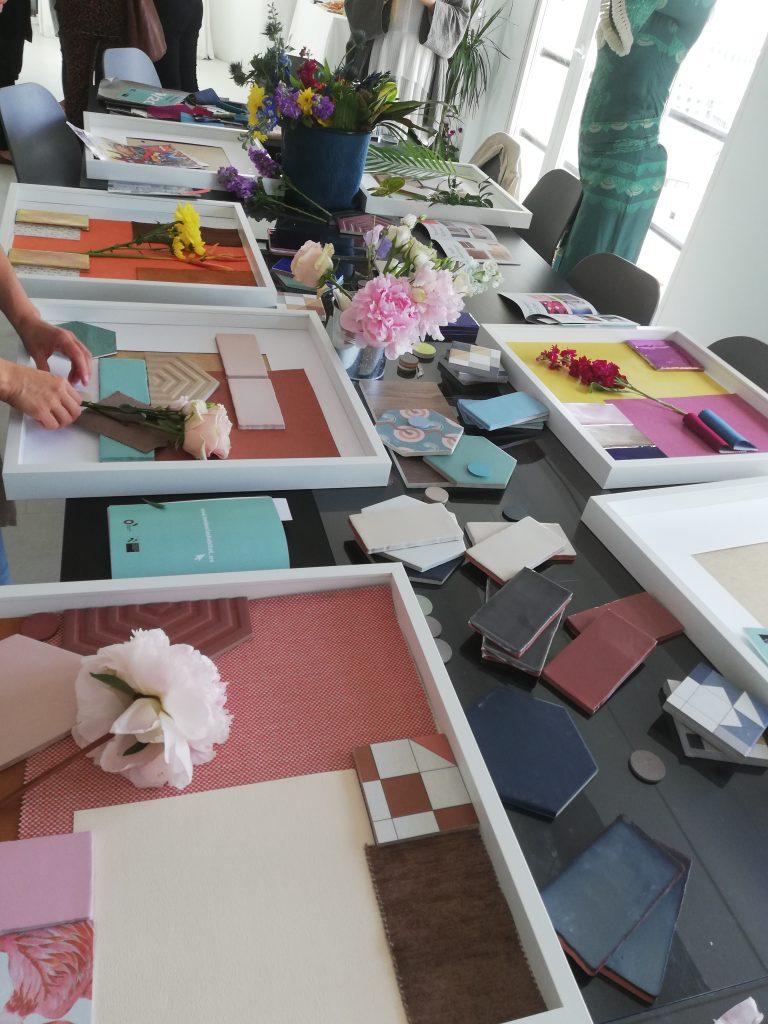 Diseño de otras compañeras en el taller tras la presentación de las últimas tendencias en cerámica