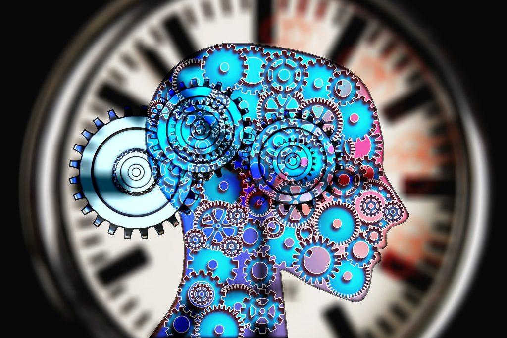 Mecanismos reloj en cabeza humana